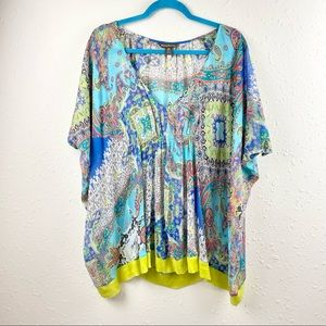 Tommy Bahama Sheer Silk Poncho Style Top